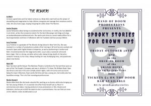 Spooky Stories for Grown Ups programme page 4 & cover